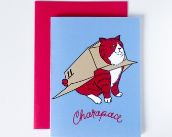 """Greeting Card """"Charapace"""", Cat in a cardbox as shell, word play, digital print"""