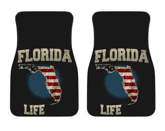 Florida/Life/Floor Mats/American Flag/Car/Truck/SUV/Auto/RV/Gifts/State Flag/Art/Home