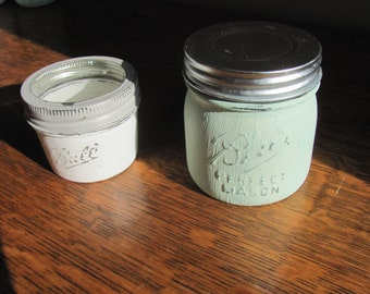 Ball Jars Set of Two Light Green and White