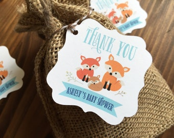 12 Little Fox Forest Custom Baby Shower favor thank you tags