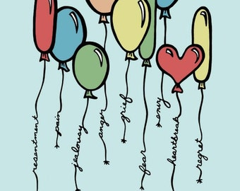 Red, Yellow, Green and Blue Balloons - Let It All Go - 8 x 10 Digital Illustration Art Print- Affirmation, Emotions