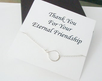 Eternity Infinity Silver Necklace ~~Personalized Jewelry Gift Card for Friend, Best Friend, Sister, Step Sister, Bridal Party, Graduation