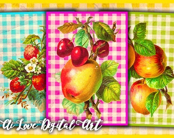 Digital collage sheet vintage ephemera, instant download Colors Fruit digital card, gift tags printable images, greeting cards, scrapbooking