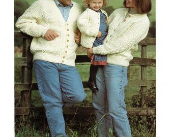 Classic Aran Cardigan for Men, Women, Boys and Girls, Vintage Knitting Pattern, PDF, Digital Download