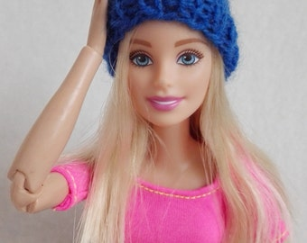 Blue Barbie beanie, knitted  hat, colorful doll hat