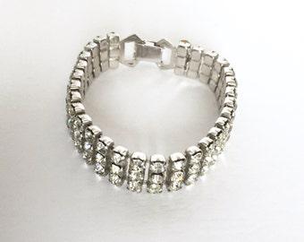 1950s Rhinestone Bracelet, Thee Rows Of Crystals