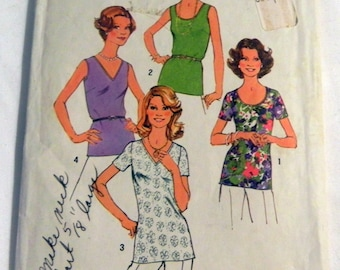 """1970s Plus Size Camisole Sleeveless top Tshirt full figure sewing pattern Simplicity 6975 Plus Size 44 46  bust 48 50"""""""