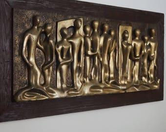 Mid Century modern Espada wall art sculpture / Fiberglass wall art / Vintage lovers wall sculpture / Abstract figural relief couples MCM art