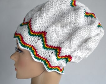 Chevron beanie rasta hat, dreadlock crown, slouchy reggae hat, rasta beanie