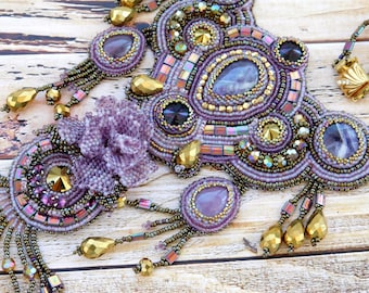 Embroidered necklace, beaded embroidery jewelry, beadwork jewelry