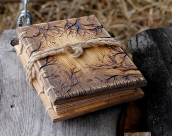 Wedding Guest Book rustic wood journal with trees of life wooden guestbook bridal shower engagement anniversary