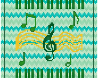 Easy Counted Cross Stitch Pattern Green Music
