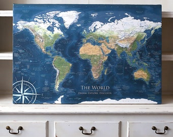 Globes maps etsy large world map wall art push pin travel map with world wonders usa national parks and more created by a professional geographer gumiabroncs Choice Image