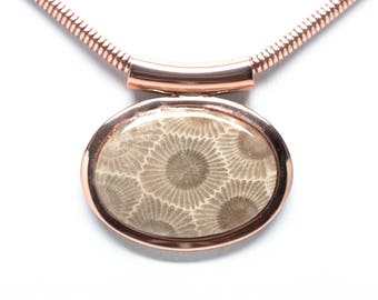 Petoskey Stone Fancy Copper Oval Necklace - Chain Included