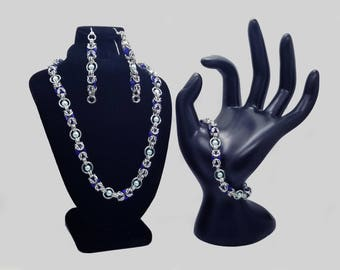 Silver and Blue Floating Bead Byzantine Chainmaille Jewelry Set including a Necklace, Bracelet and Earrings