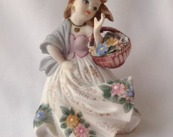 Lefton Handpainted Girl with Basket Figurine