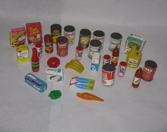 Large lot miniature groceries food canned goods toys plastic cardboard