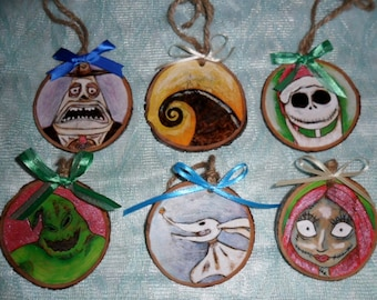 Personalized Nightmare before Christmas inspired Christmas Ornament set