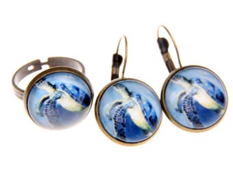 Turtle jewelry set Earrings and ring 1616