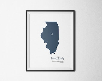 Custom State Map, Personalized Map, Husband Gift, Wife Gift, Wedding Gift, State Map Print, Anniversary Gift, Personalized Custom State Map.