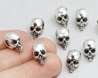 15 Pieces Antique Silver Skull Beads, 10/40 Pieces,Skull Beads, Halloween Skull, Silver Skull, 13x7mm(Approx), sku/AK6