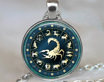 Blue Wheel Scorpio necklace, Scorpio pendant, Astrology necklace, Scorpio jewelry Zodiac necklace Scorpio gift  key chain