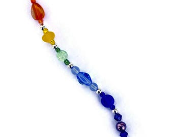 ROYGBIV Crystal Suncatcher Ornament Feng Shui 20mm with a Rainbow of beads for Rainbows and Hanging