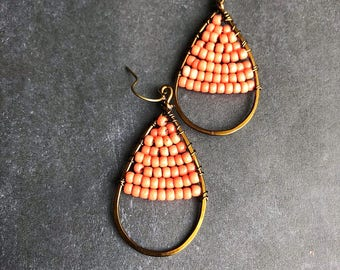 Peach earrings boho earrings beaded earrings antique brass earrings yoga earrings rustic earrings bright earrings