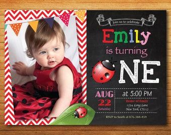 Ladybug Birthday Invitation. Ladybug Theme Party Invitation. 1st First Birthday. Red and Black Polka Dot. Custom photo. Printable Digital.