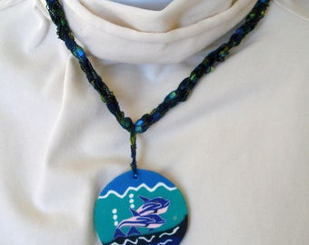 Textile Necklace with Clay Dolphin Pendant - Fiber Jewelry - Embellished Clay Pendant