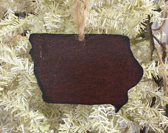Rustic tin Iowa ornament, rustic tin Iowa magnet, Tin Christmas ornaments, tin Iowa decor, rustic ornaments, handmade magnets, rustic magnet