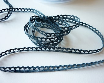 Graphite grey stripe 8 mm cotton Ribbon lace - for sale by the yard