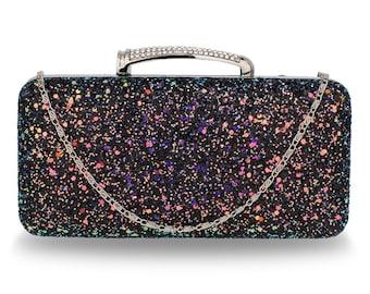 Black Glitter Evening Wedding Clutch Box Evening Party Bag