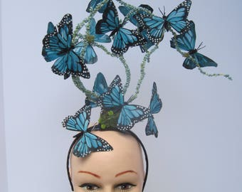 Terrific Teal Monarch Butterfly Headpiece with a Twist
