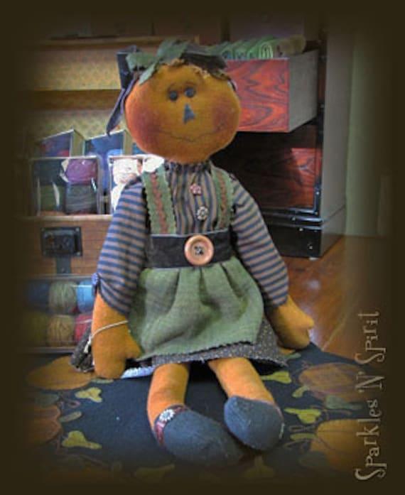 """Pattern: Jill O - 22"""" Pumpkin Raggedy Doll"""