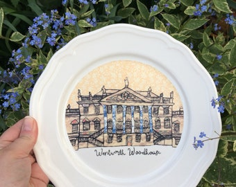 Wentworth Woodhouse illustrated decretive plate, freehand stitch, stately home, architecture, building, Yorkshire, south Yorkshire, ceramic,