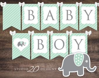 Instant Download Mint Elephant Baby Shower Banner, Printable Mint Green Grey Boy Bunting Banner Flags 22H