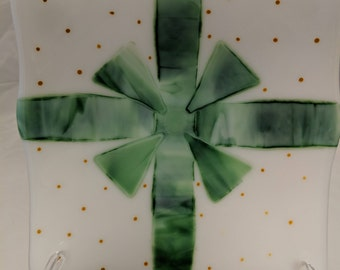 The Gift, Perfect any Occasion Gift, Green Ribbons on Dotted White, Wedding, Birthday, Christmas, Mother's Day,