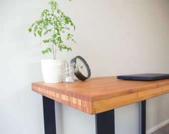 Contemporary Office Desk with Bamboo Butcher Block Top