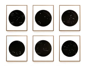 Constellation Print Set, Constellation Map Set, Minimal Decor, Star Map Set, Set of 6, Zodiac, Star Signs, Minimal Star Map, Decorator Set