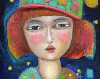mixed media original  painting  women fun woman face paper  original imagination color dreamy moon stars universe eternal poetry
