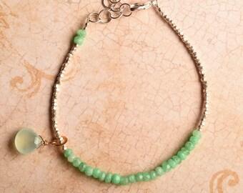 Chakra Bracelet, Heart Chakra, Green Chrysoprase Bracelet, Yoga Bracelet, Healing Bracelet