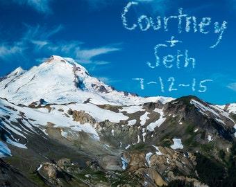 Personalized Wedding Gift Mountain Mt Baker Seattle Washington Customized Names Photo Anniversary Valentines Day pp32