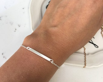 Dainty, Simple Silver or Gold Metal Bar Chain Bracelet Bangle