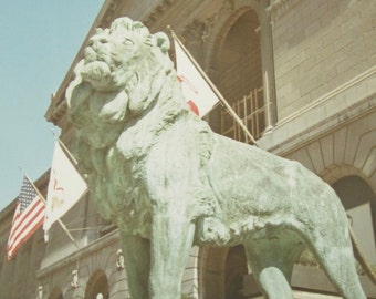 Vintage 1960's Chicago Art Institute Lion Sculpture Snapshot Photo - Free Shipping