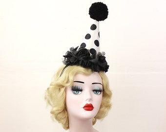 Scary Clown Costume, Black and White Polka Dot Clown Hat, Cirque Costume, Kid's Birthday Party Hat, Adult Halloween Costume, Mini Clown Hat
