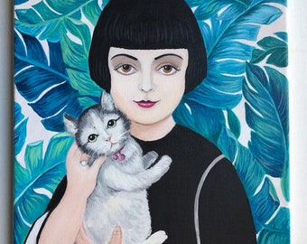 Ruthie and her beloved cat. Original painting of a beautiful vintage woman.