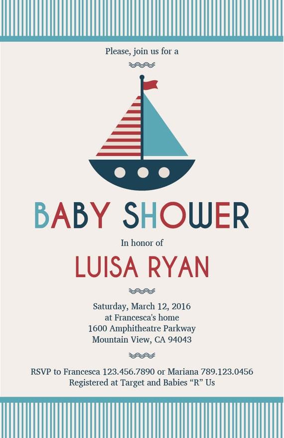 Sailor baby shower invitation sailboat babyshower invitations