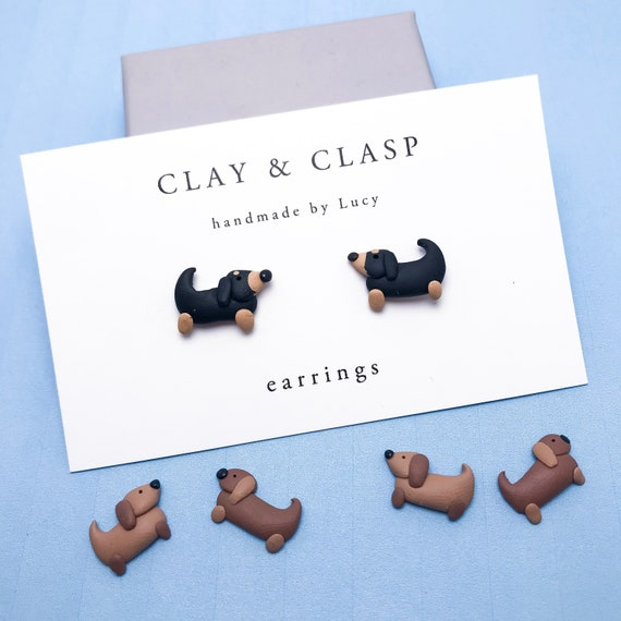 Sausage Dog Dachshund Earrings - beautiful handmade polymer clay jewellery by Clay & Clasp
