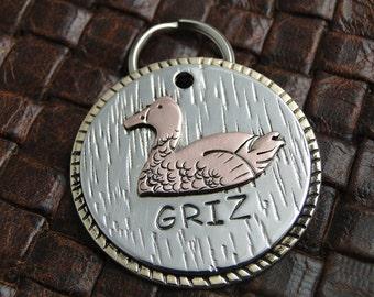 Custom Duck ID Dog Tag, Handmade Pet ID Tag, Dog Collar Tag, Duck Pet ID Tag